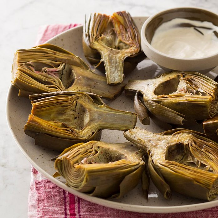 Roasted Artichokes With Lemon Aioli Recipe How To Make It Taste Of Home