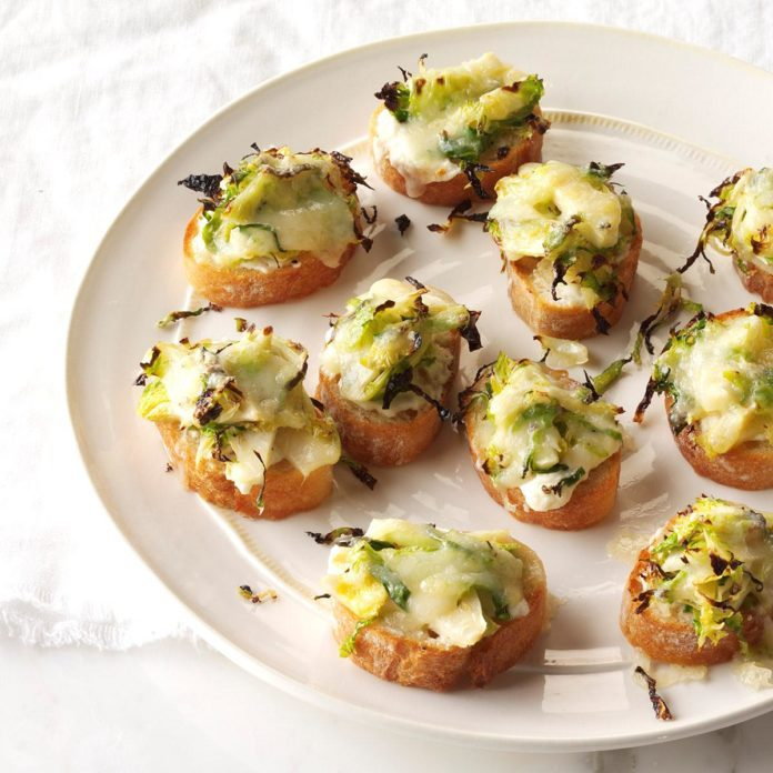 Roasted Brussels Sprouts & 3-Cheese Crostini