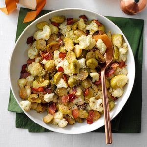 Roasted Brussels Sprouts & Cauliflower