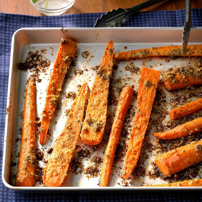 Roasted Carrots with Cilantro-Walnut Pesto