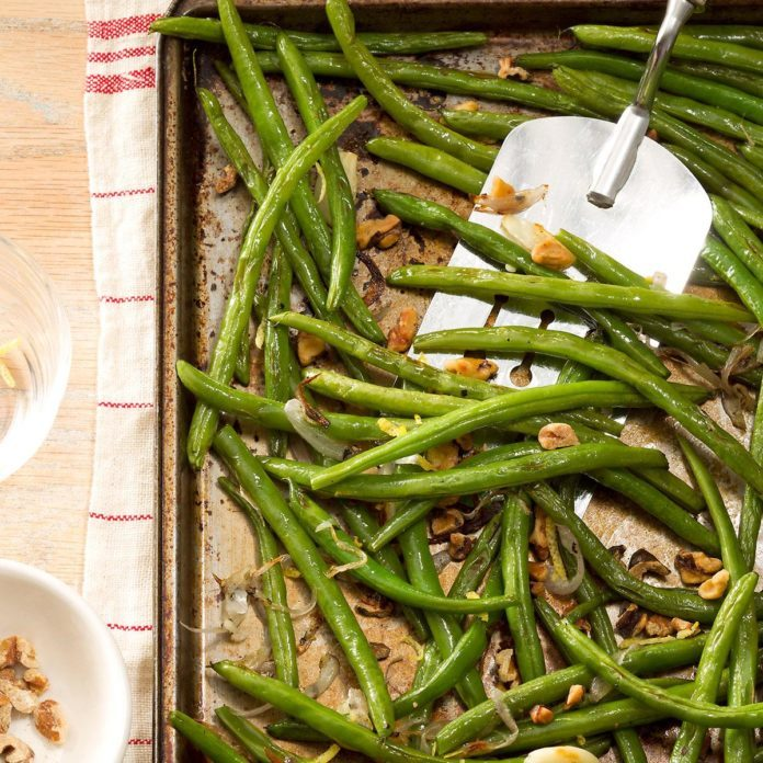 Roasted green beans with lemon walnuts