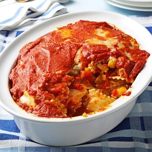 Roasted Pepper Ravioli Bake
