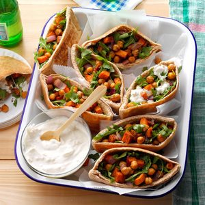 Roasted Sweet Potato & Chickpea Pitas