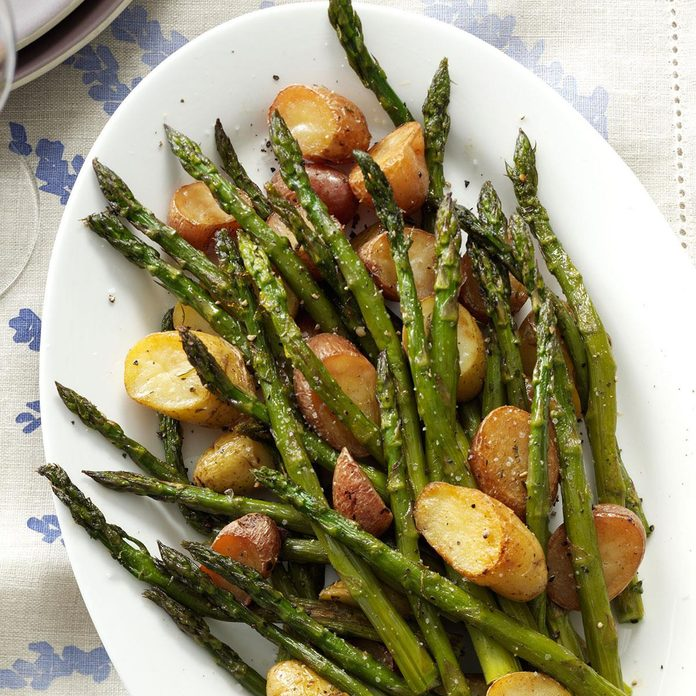 Rosemary Roasted Potatoes And Asparagus Recipe How To Make It Taste Of Home
