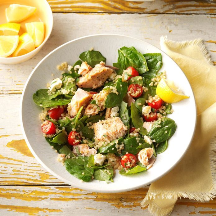 Day 12: Salmon & Feta Wilted Spinach Salad