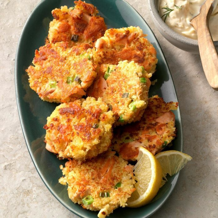 Salmon Patties with Lemon-Dill Sauce