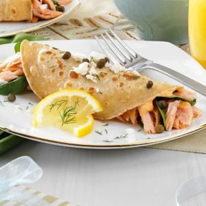 Salmon and Goat Cheese Crepes