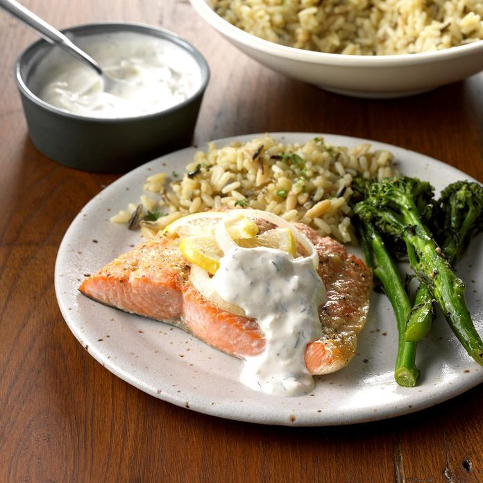 Day 10: Salmon with Creamy Dill Sauce