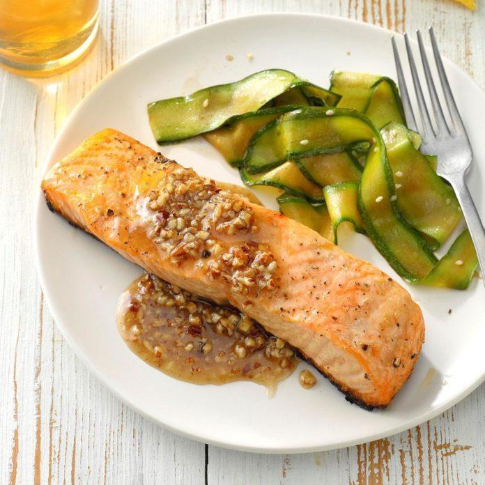 Salmon with Honey Pecan Sauce