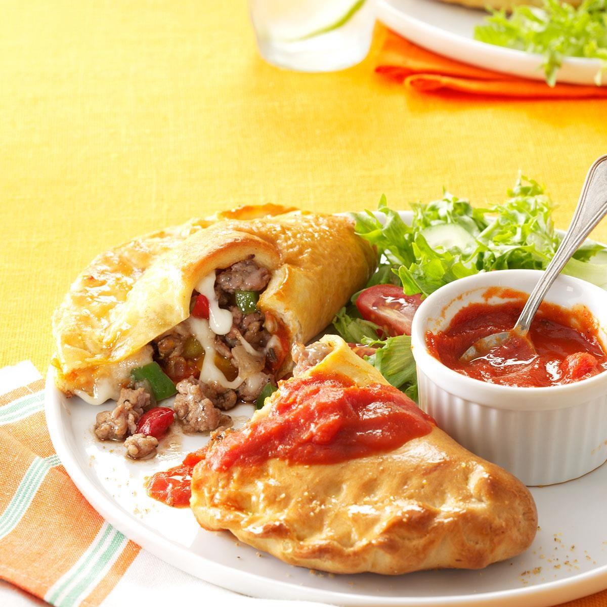 Sausage, Pepper & Mozzarella Calzones