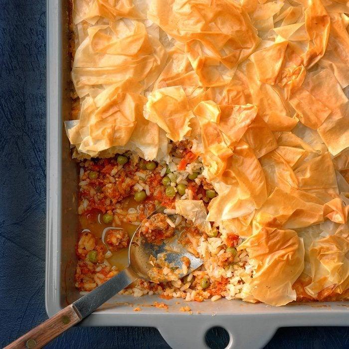Sausage-Rice Phyllo Casserole