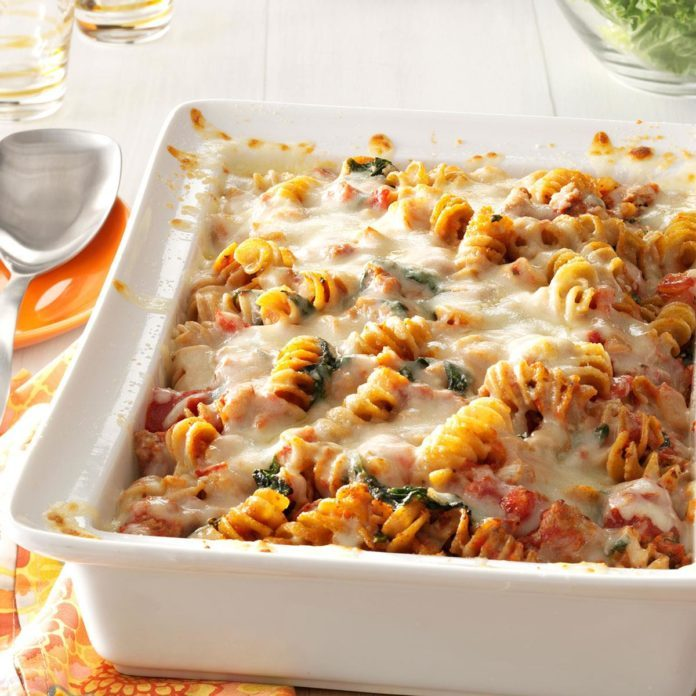 Fall: Sausage Spinach Pasta Bake