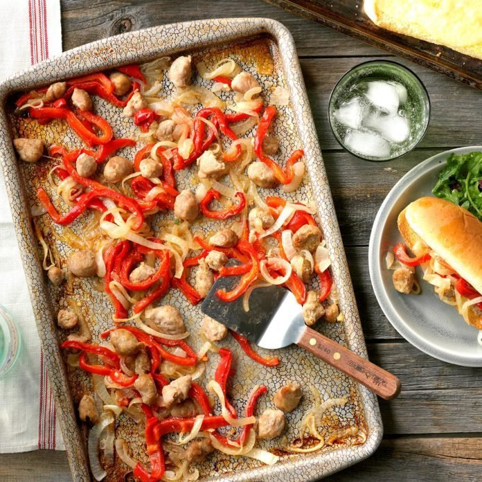 Sausage and Pepper Sheet-Pan Sandwiches