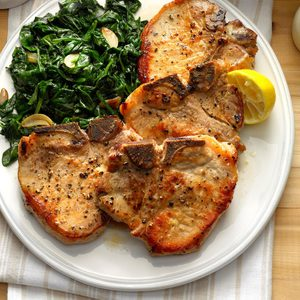 Sauteed Pork Chops with Garlic Spinach