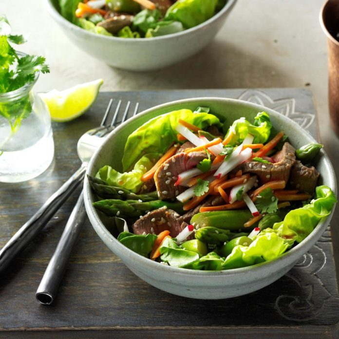 Wednesday's Lunch: Sesame Beef & Asparagus Salad