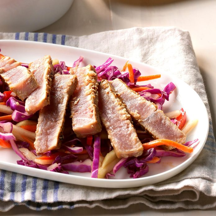 Sesame Crusted Tuna with Asian Slaw