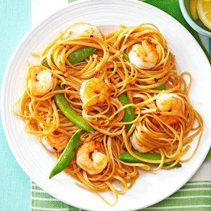 Sesame Noodles with Shrimp & Snap Peas