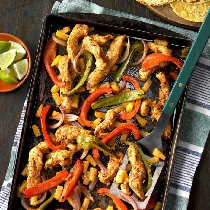 Day 24: Sheet Pan Pineapple Chicken Fajitas