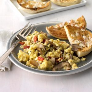 Shiitake and Manchego Scramble