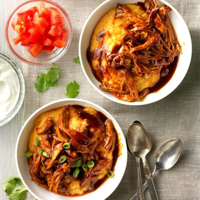 Shredded Barbecue Chicken over Grits