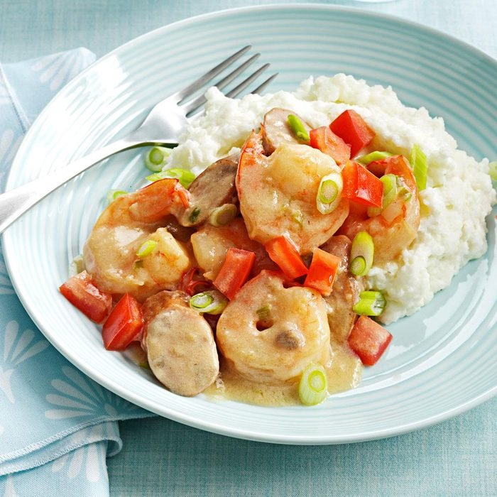 Shrimp & Chicken Sausage with Grits