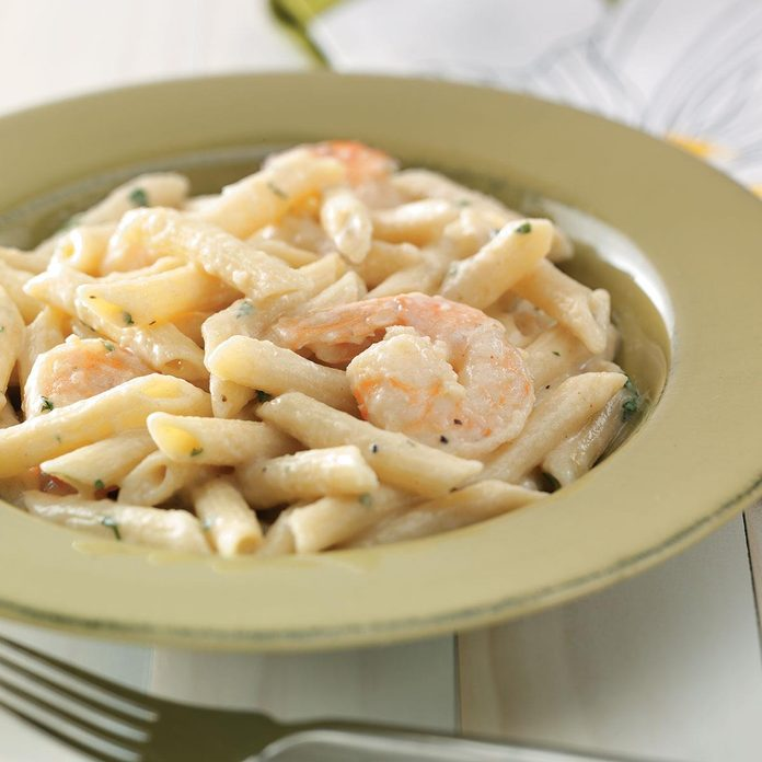 Shrimp Penne with Garlic Sauce for Two