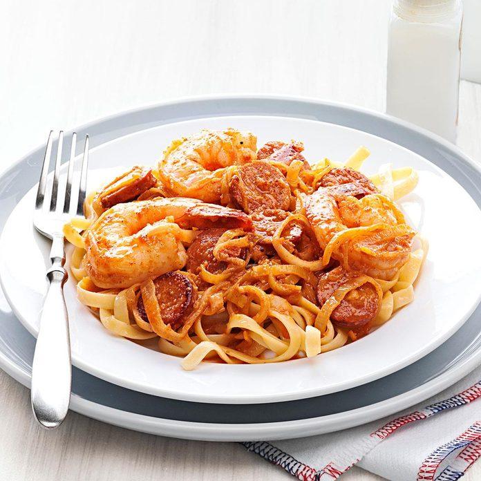 Shrimp Scampi Fettuccine with Andouille Butter