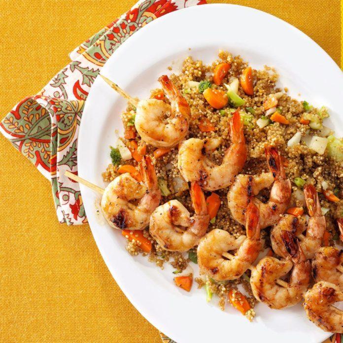 Shrimp Skewers with Asian Quinoa