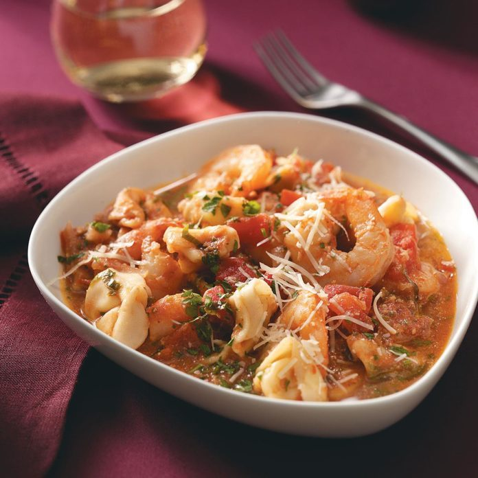 Shrimp & Tortellini in Tomato Cream for Two