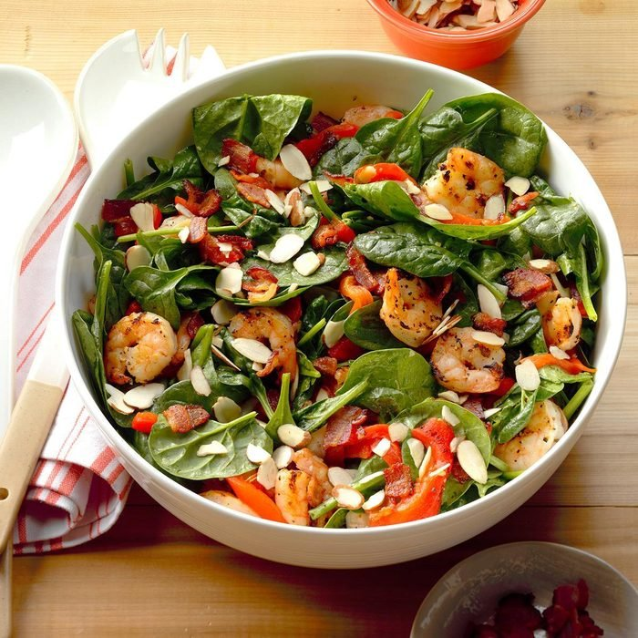 Shrimp and Spinach Salad with Hot Bacon Dressing