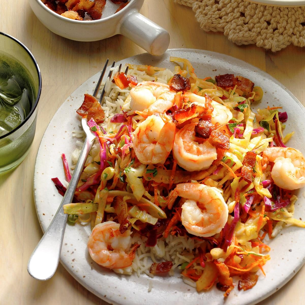 Shrimp with Warm German-Style Coleslaw