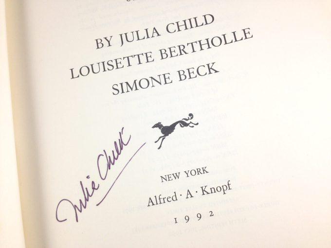 Julia Child's signature in a book