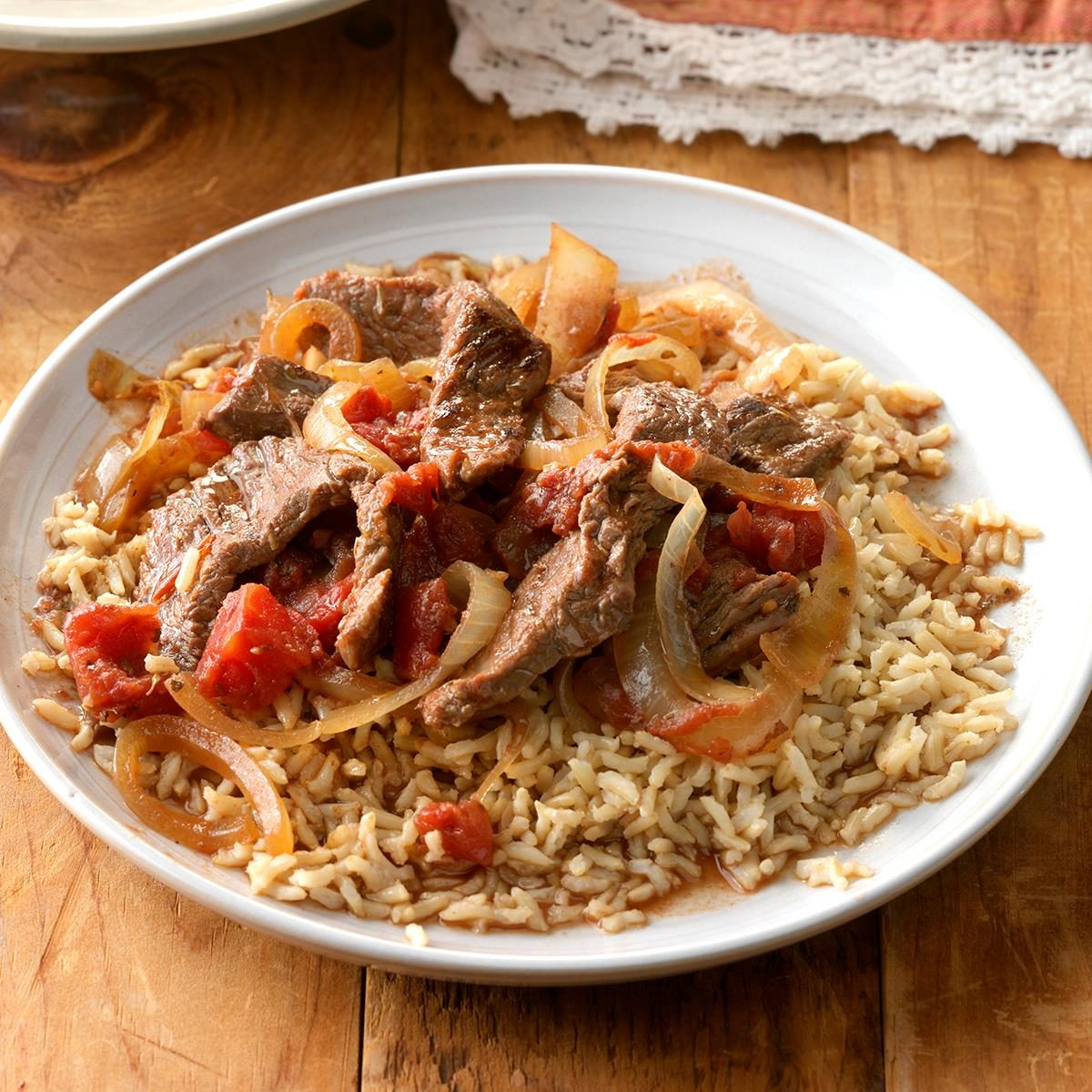 Sirloin Strips Over Rice Recipe How To Make It Taste Of Home