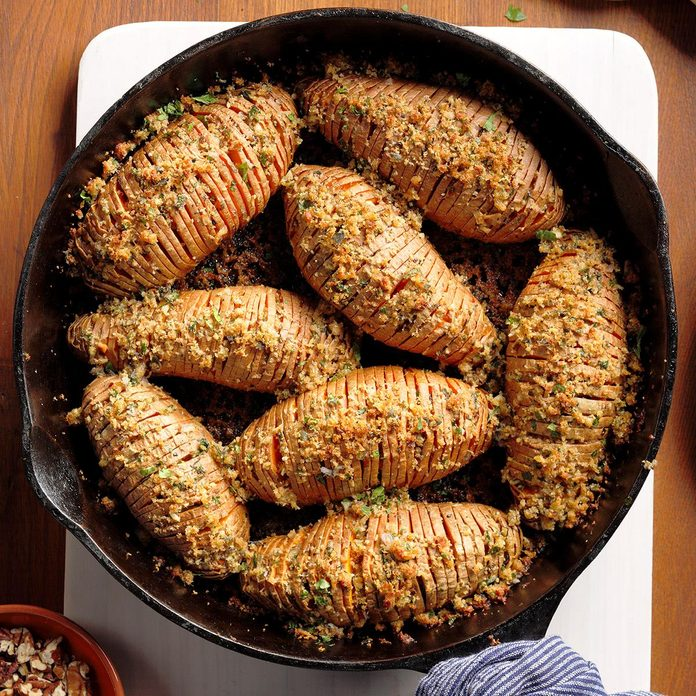 Skillet Hasselback Sweet Potatoes