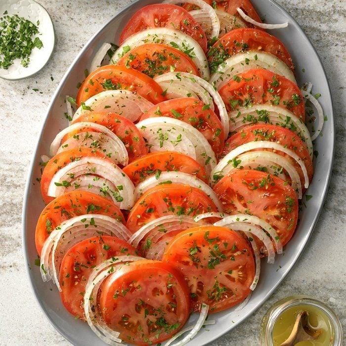 Sliced Tomato Salad on platter