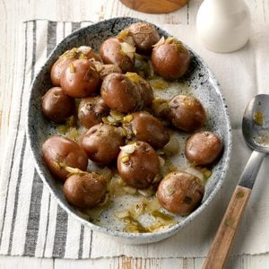 Slow-Cooked Potatoes with Spring Onions
