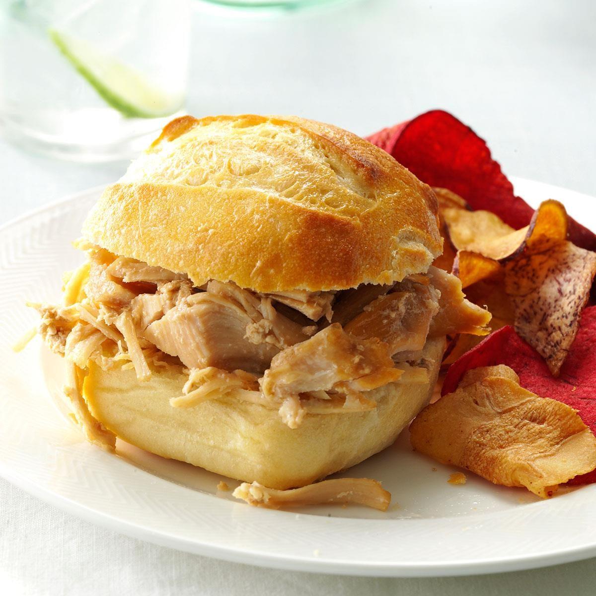 Slow Cooker Shredded Turkey Sandwiches