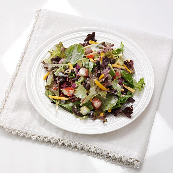 Southwestern Black Bean and Lettuce Salad with Salsa Verde Dressing