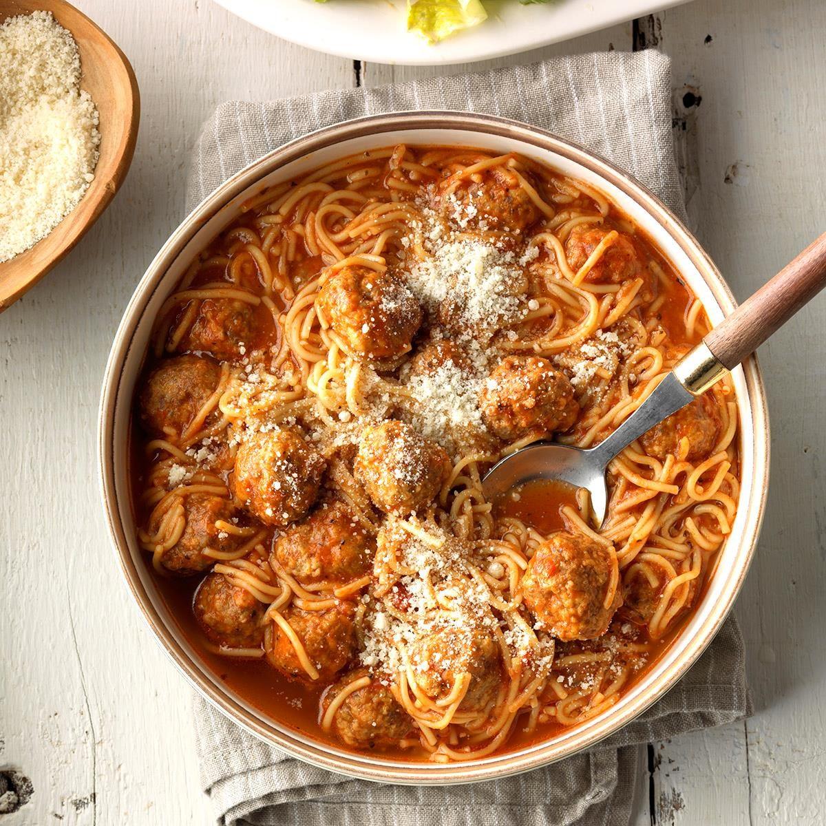 Spaghetti Amp Meatball Soup Recipe Taste Of Home