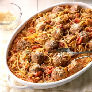 Spaghetti and Meatball Skillet Supper