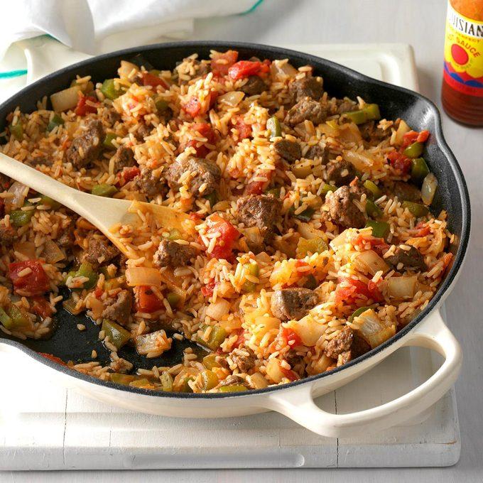 Spicy Cajun Sausage and Rice Skillet