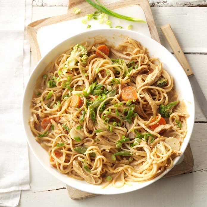 Inspired by: Noodles Spicy Peanut Sauté with Chicken