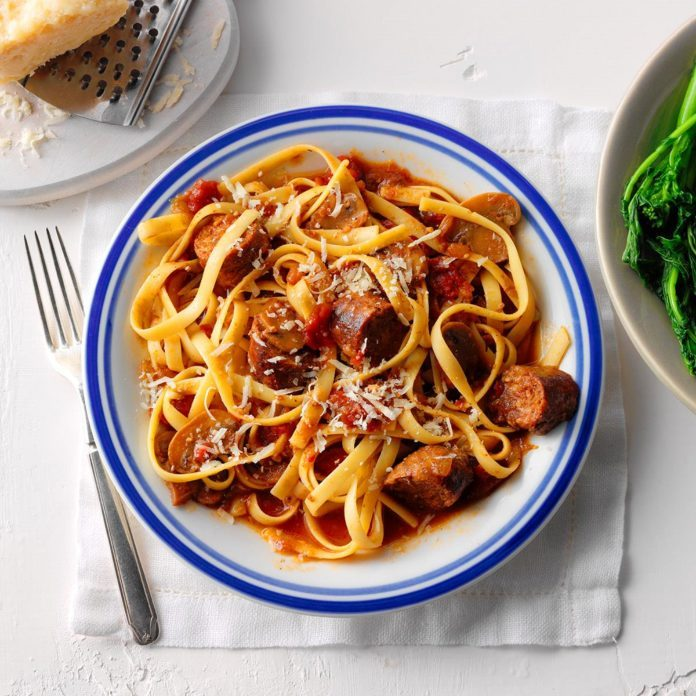 Spicy Sausage Fettuccine
