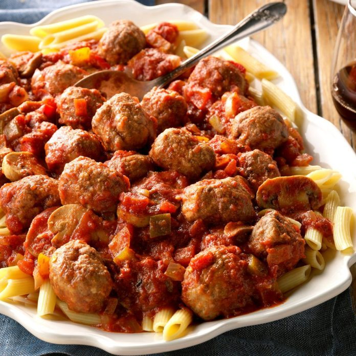 Spicy sausage meatball pasta dish