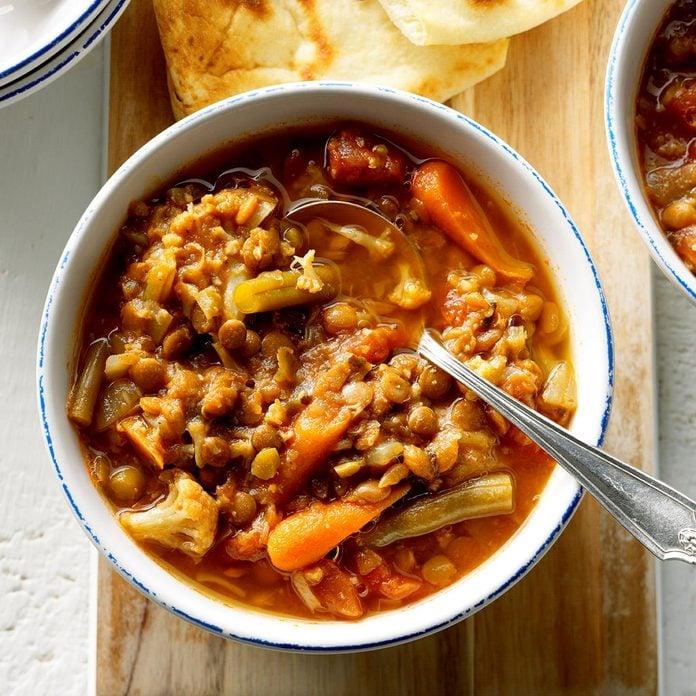 Spicy Veggie & Lentil Soup