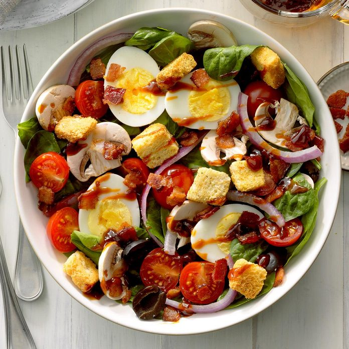 Spinach Salad With Hot Bacon Dressing Recipe How To Make It Taste Of Home