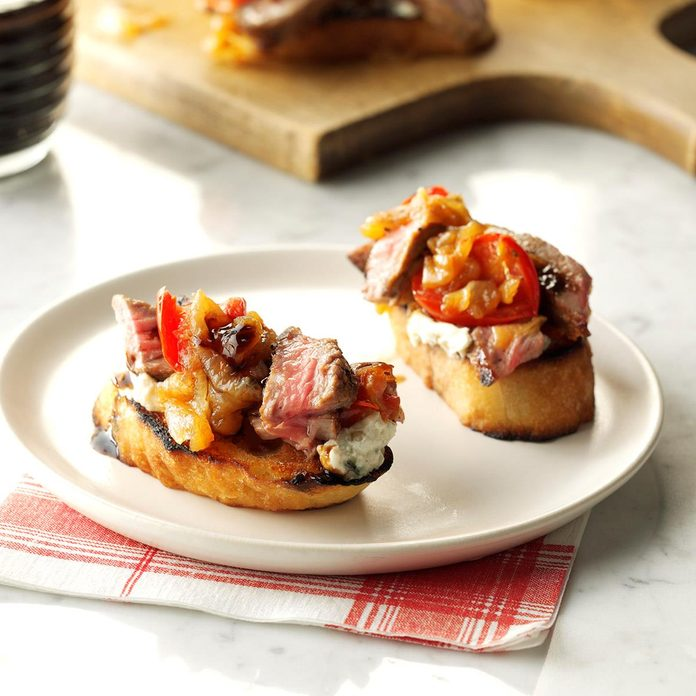 Appetizers & Small Plates: Steak & Blue Cheese Bruschetta with Onion & Roasted Tomato Jam