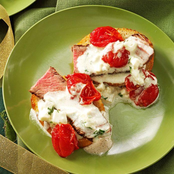 Steak Crostini with Roasted Tomatoes