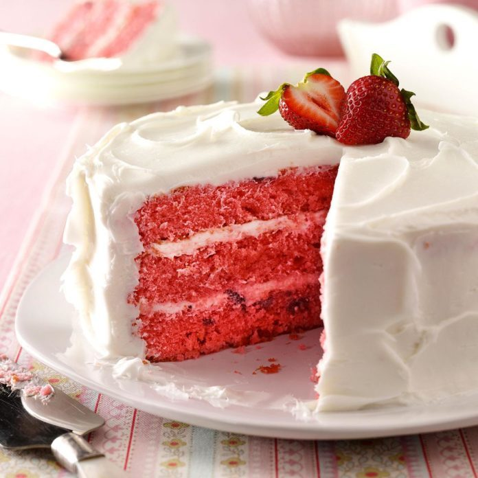 Awesome Strawberry Cake Recipe Taste Of Home Funny Birthday Cards Online Inifofree Goldxyz