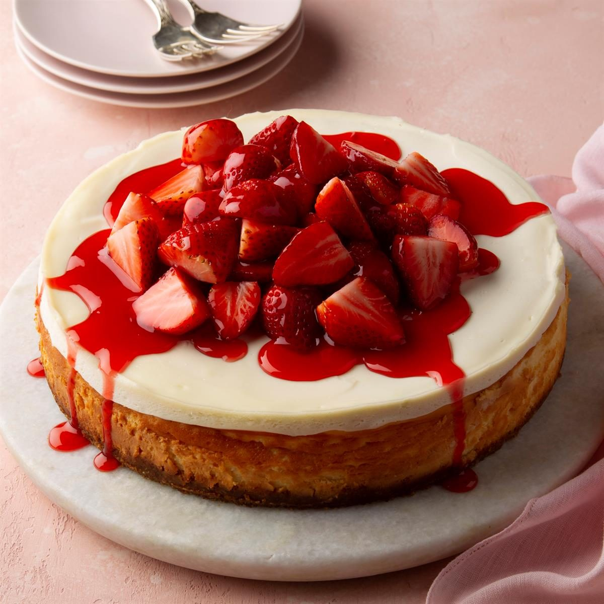 Admirable Strawberry Cheesecake Recipe Taste Of Home Funny Birthday Cards Online Barepcheapnameinfo